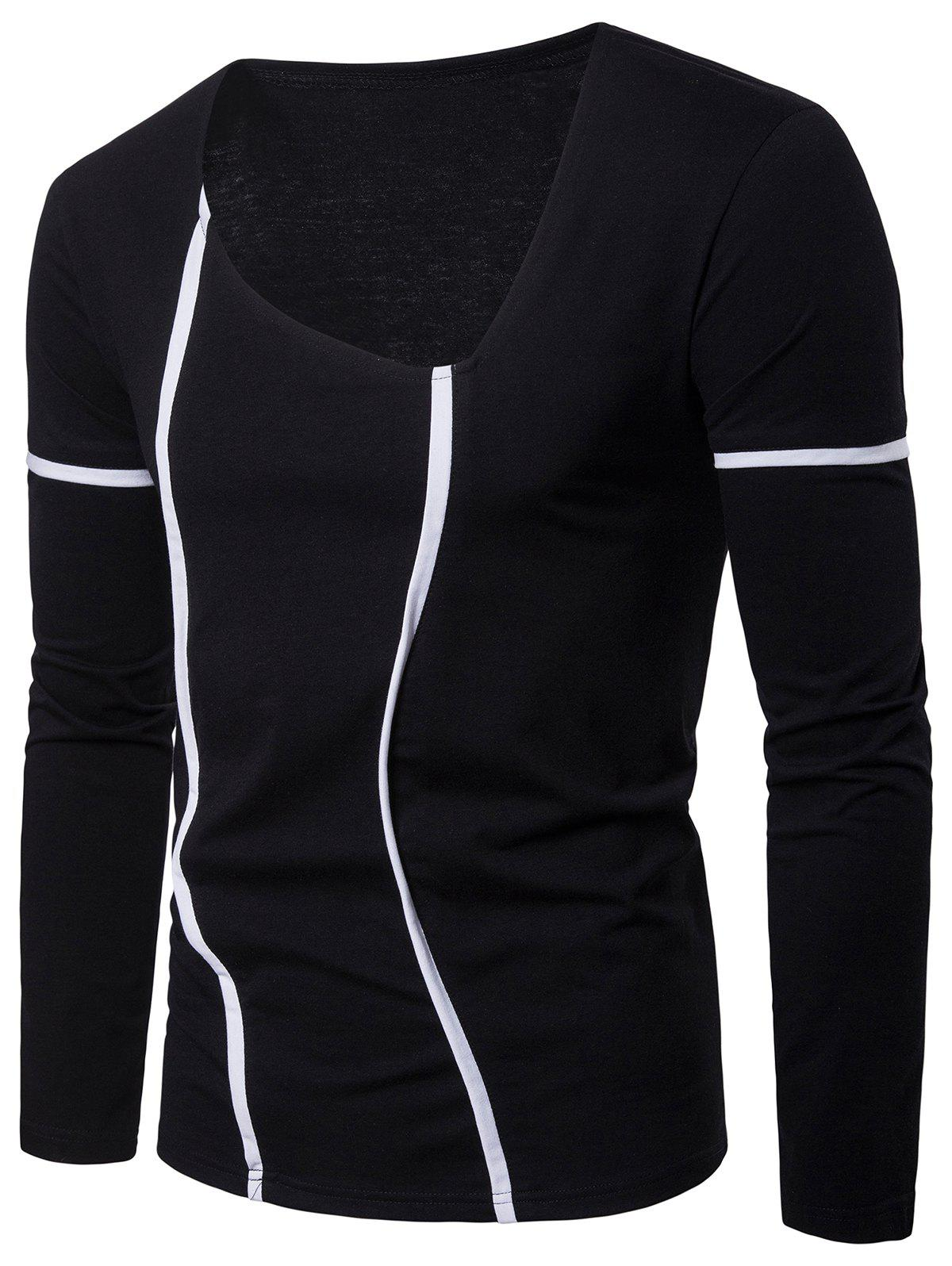 Outfits Contrast Color Stripes Seams Detail Long Sleeve T-shirt