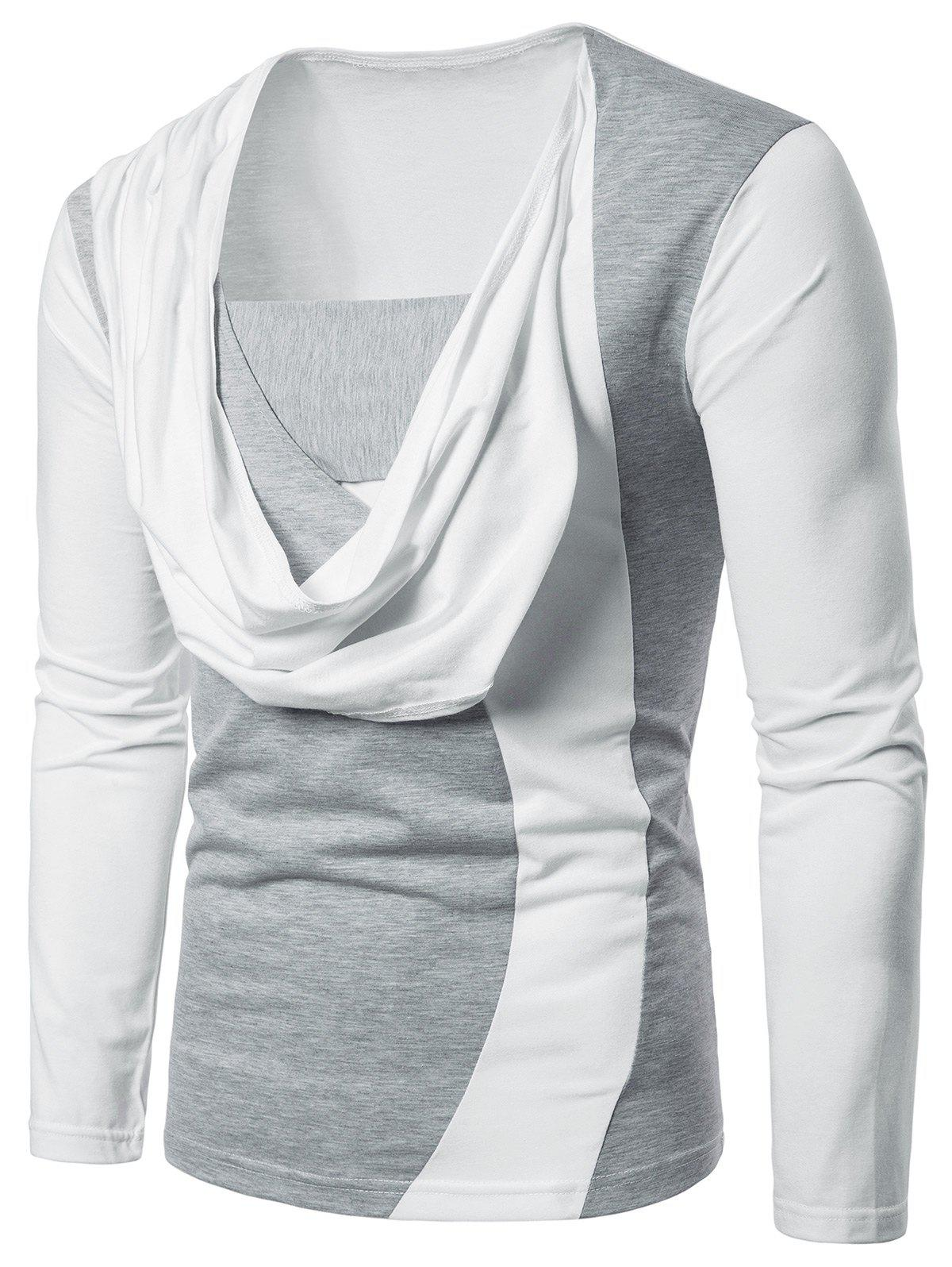 Trendy Two Tone Chest Scarf Combined Long Sleeve T-shirt
