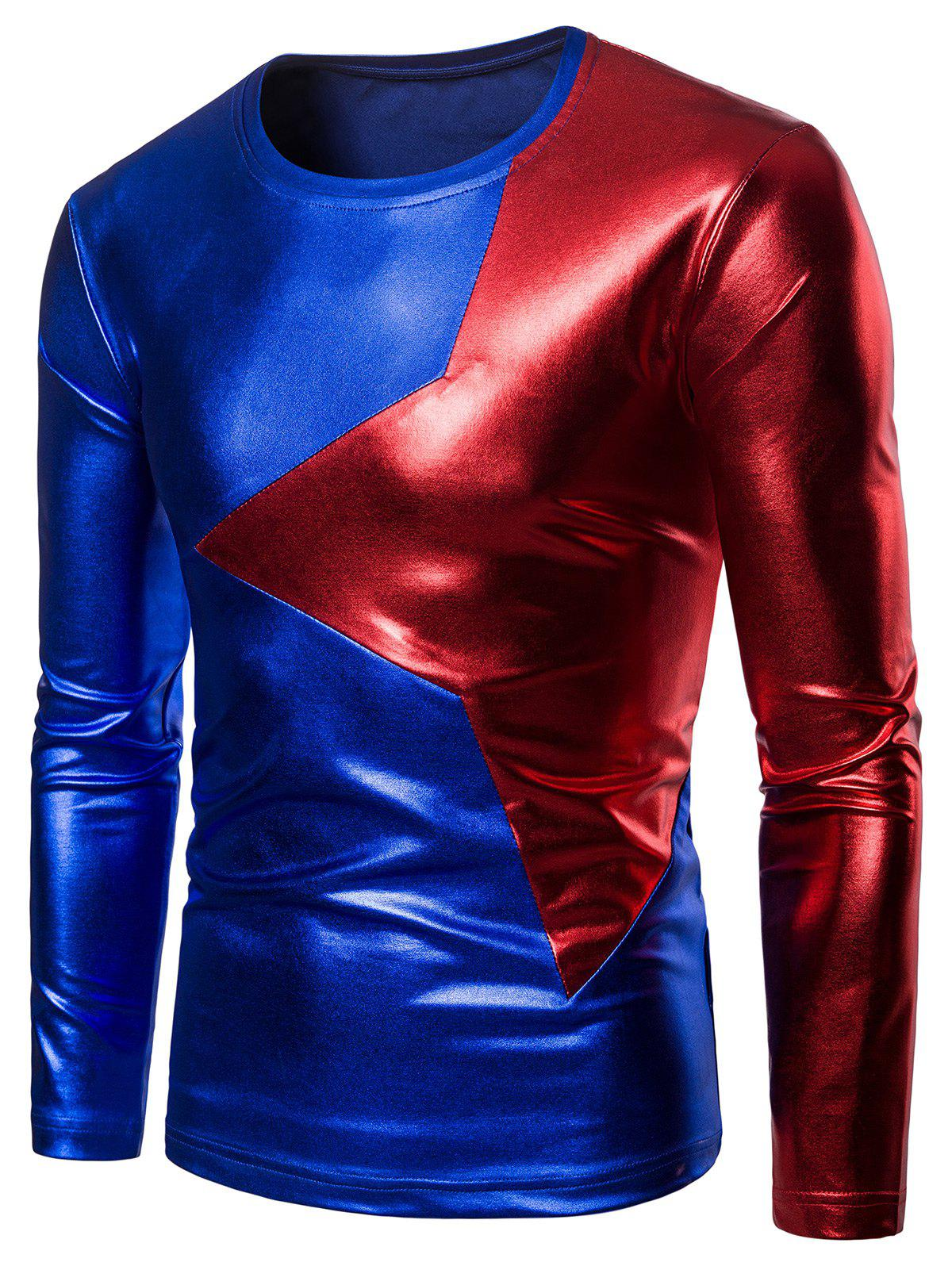 Cheap Two Tone Star Patch Performance Wear Shiny Long Sleeve Tee