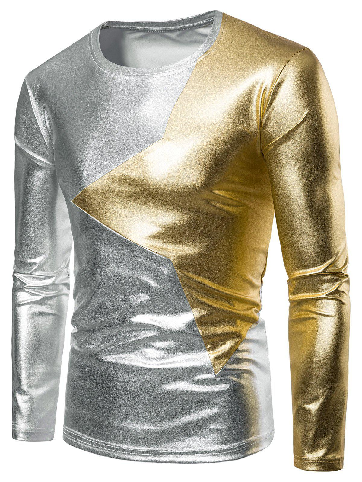 Two Tone Star Patch Performance Wear Shiny Long Sleeve Tee, Gold