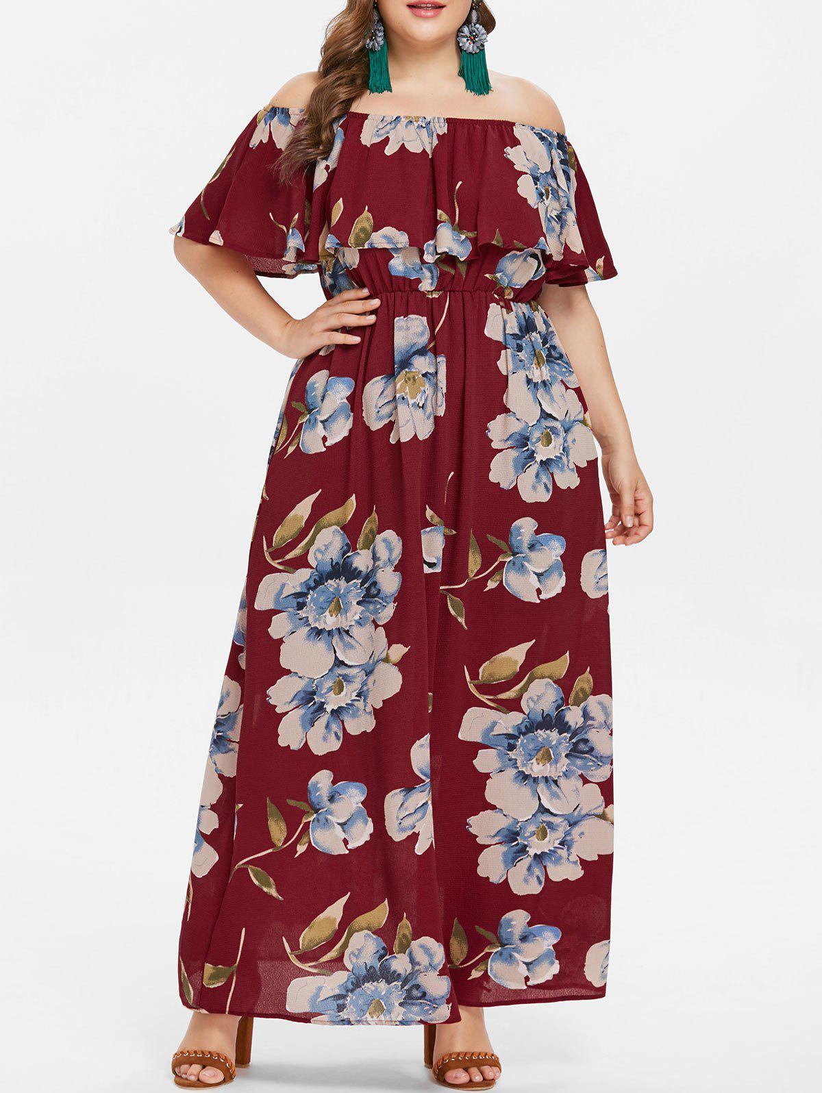 35% OFF] Plus Size Off Shoulder Flounce Maxi Dress | Rosegal