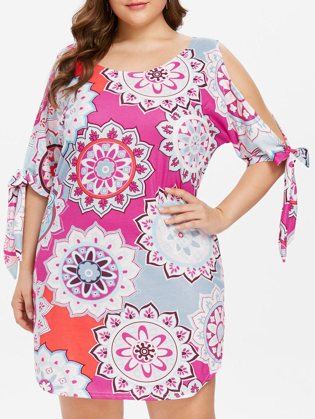 Chic Plus Size Self Tie Sleeve Ethnic Print Dress