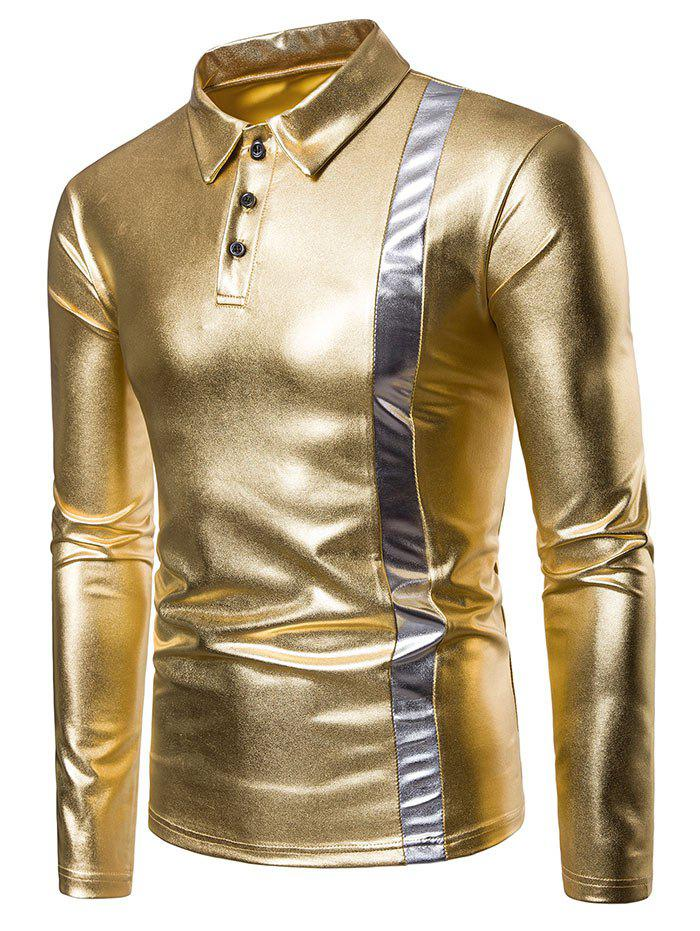 Outfit Gold Stamping Bold Stripe Splicing Polo Shirt