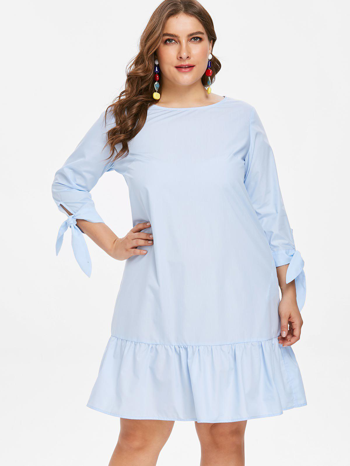 Trendy Plus Size Knot Sleeve Flounce Dress