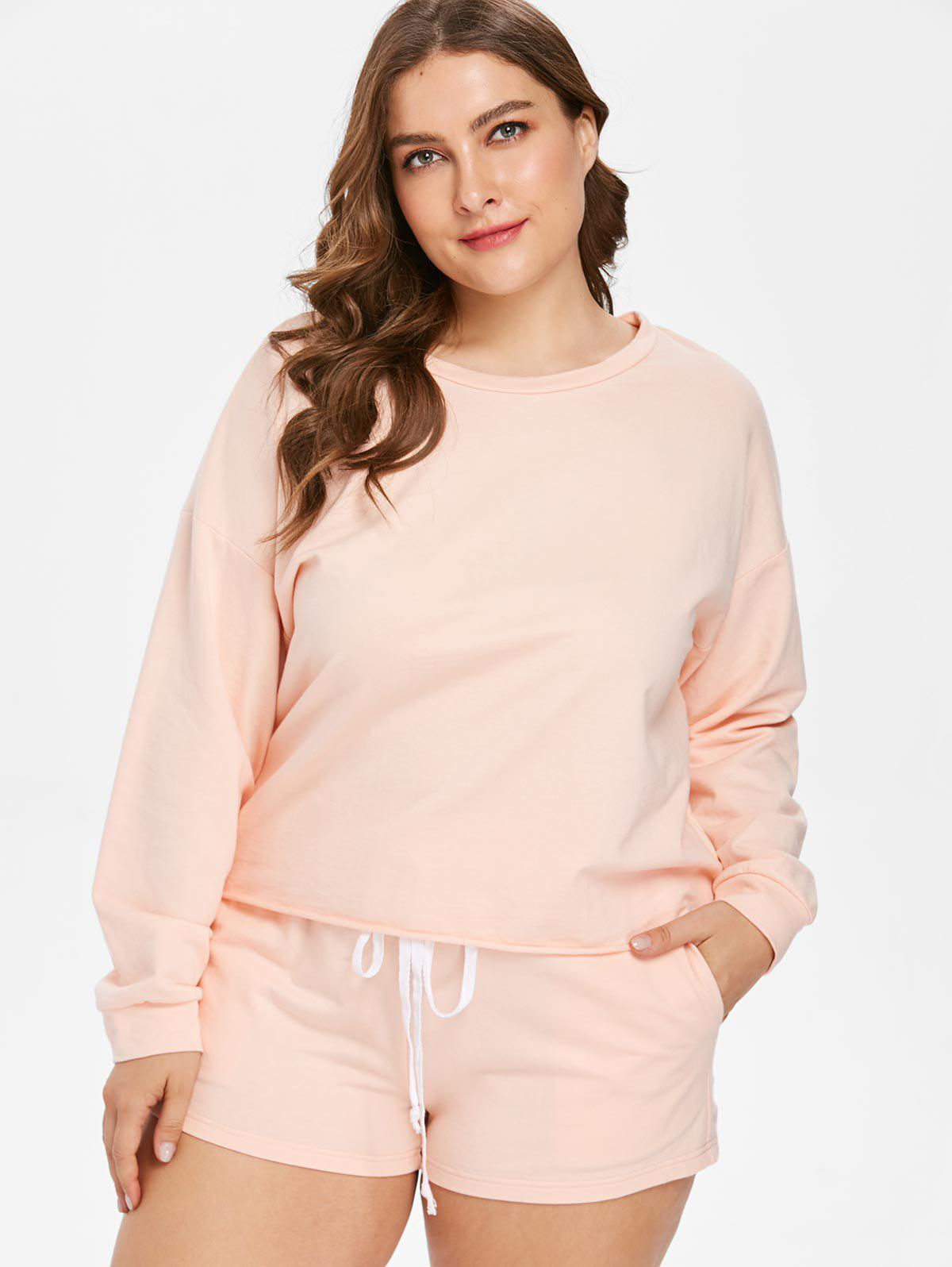 Outfit Plus Size Drop Shoulder Tee and Shorts Set