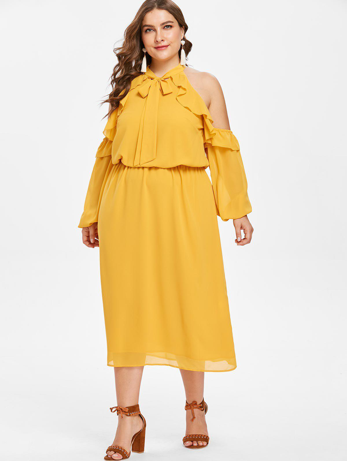 Sale Plus Size Ruffled Open Shoulder Dress