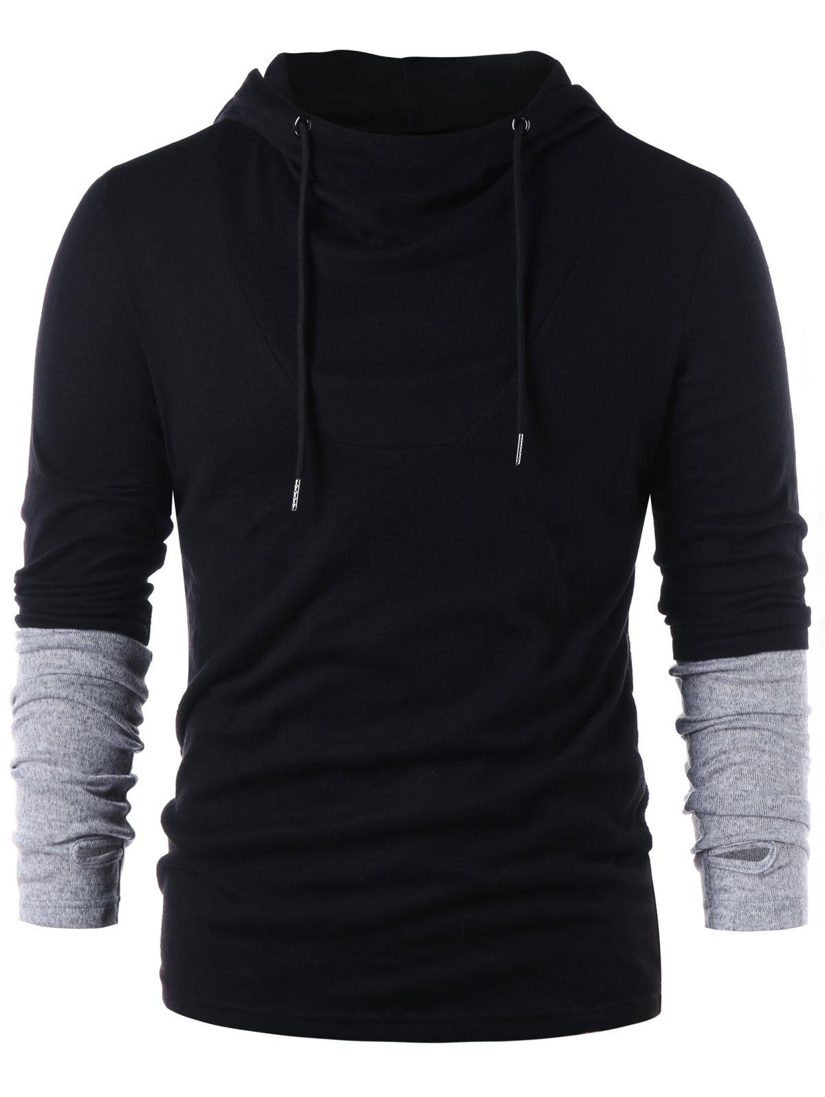 Chic Contrast Color Long Sleeve Hoodie