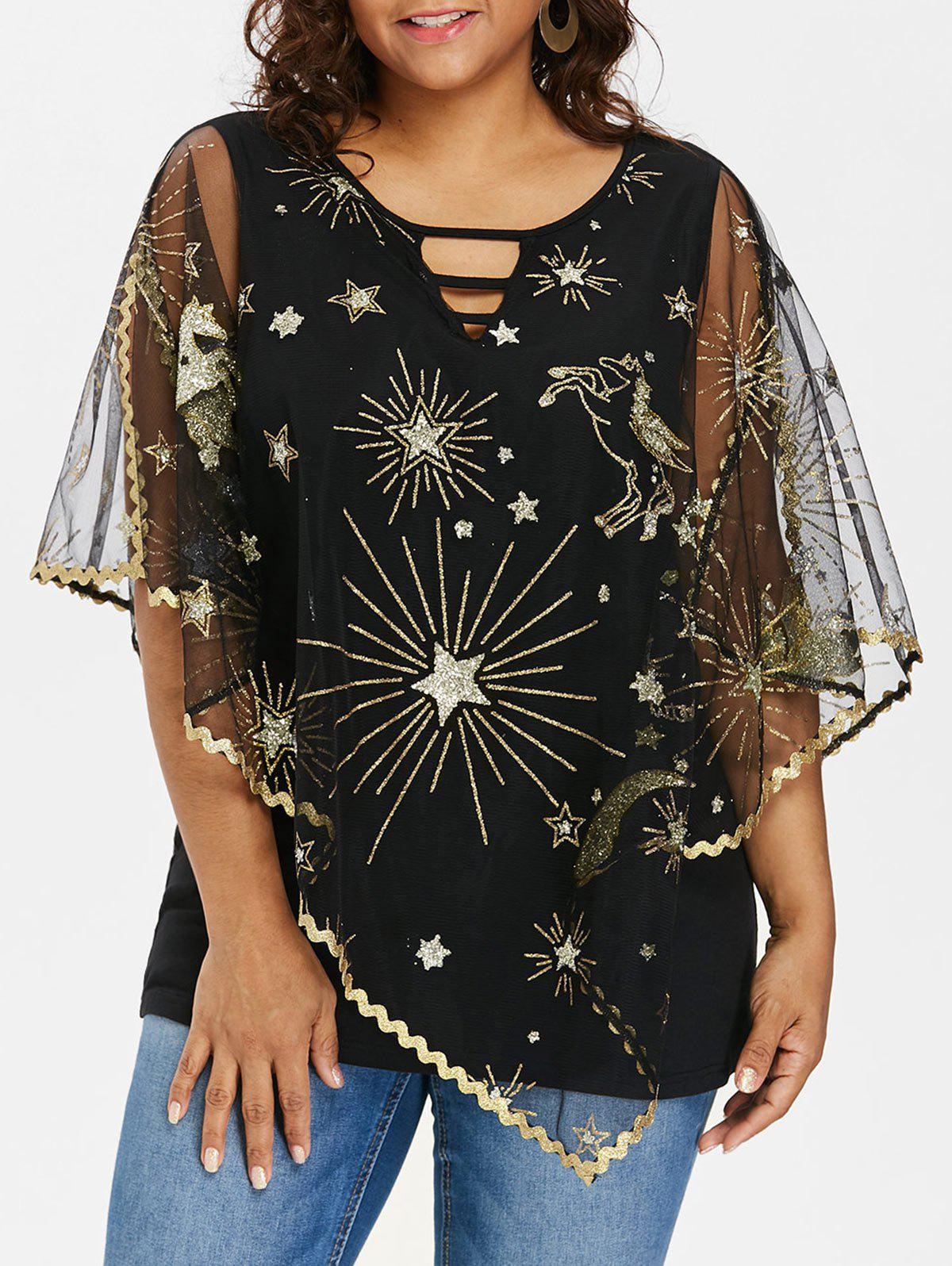 Shop Plus Size Split Sleeve Cape Blouse
