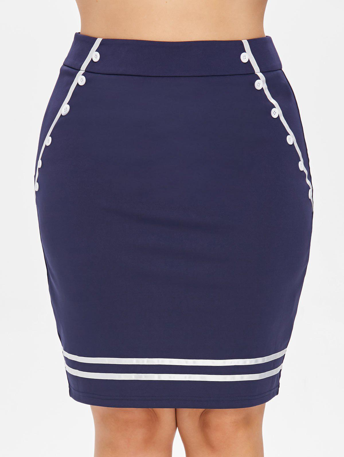 Latest Plus Size Button Embellished Pencil Skirt