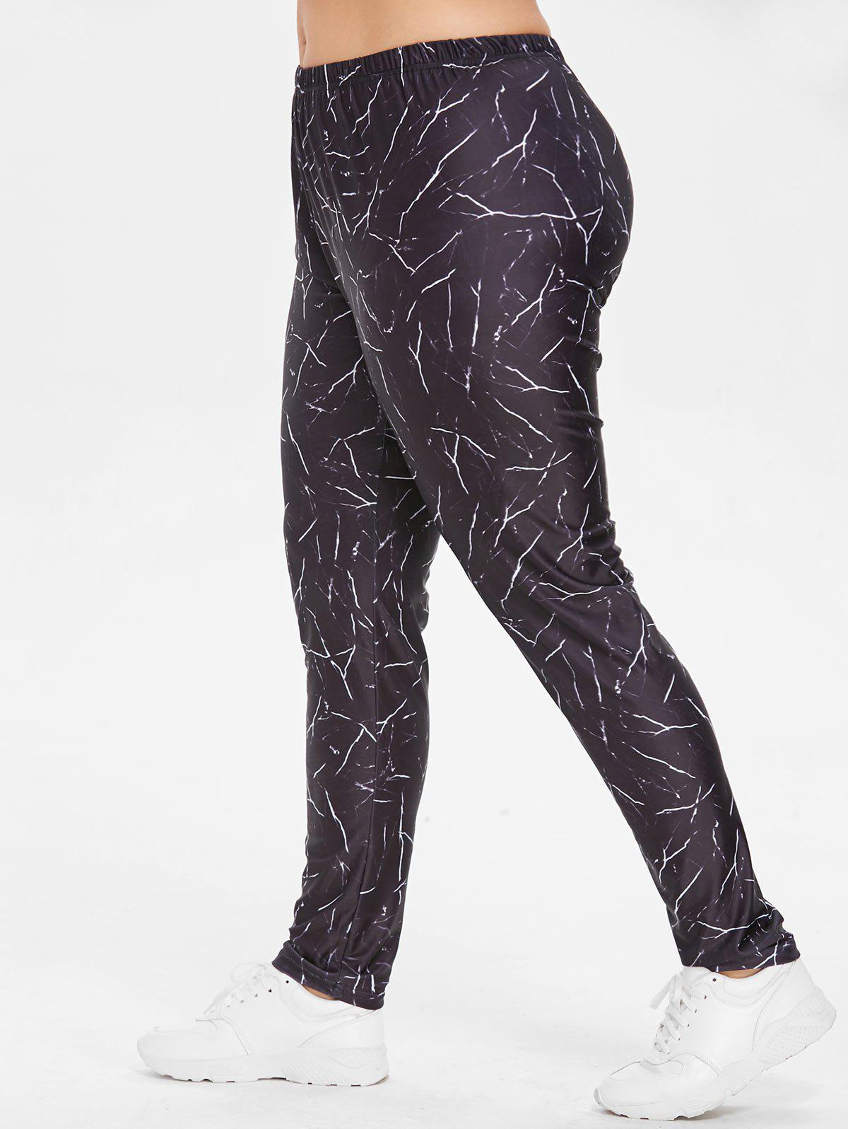 Hot Elastic Waist Plus Size Marble Print Leggings