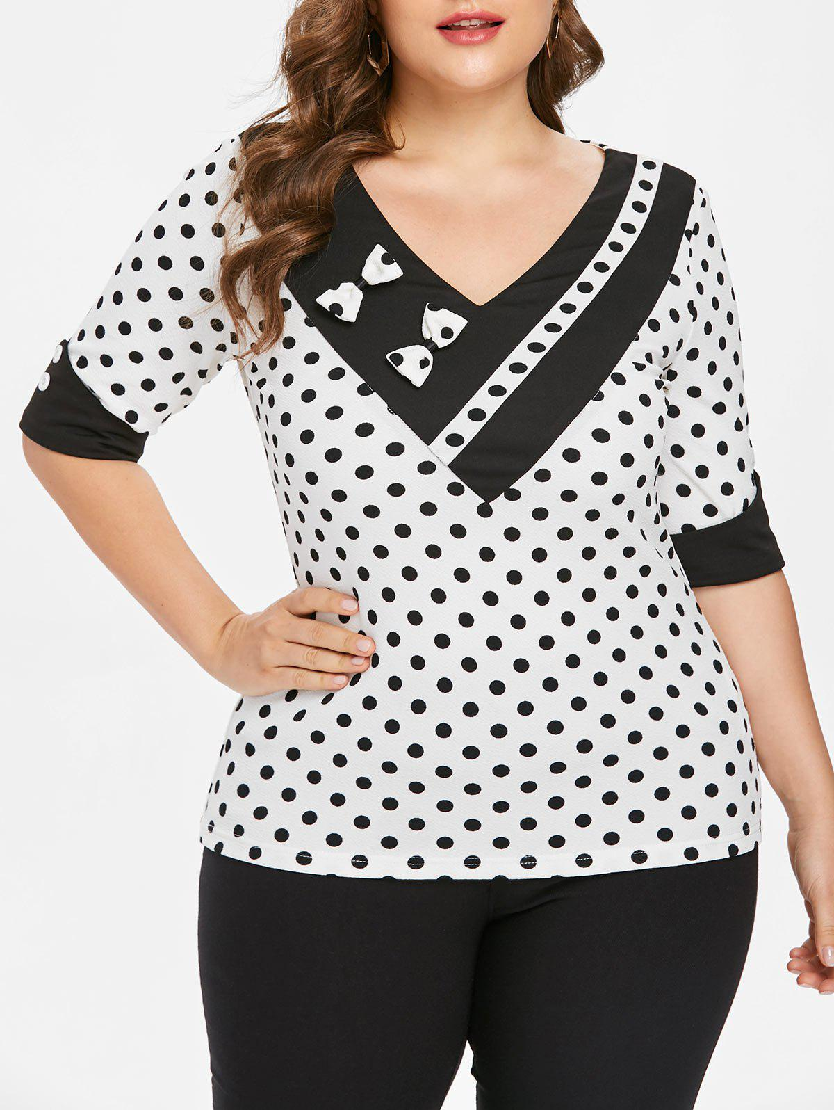 Unique Plus Size Polka Dot Half Sleeve T-shirt