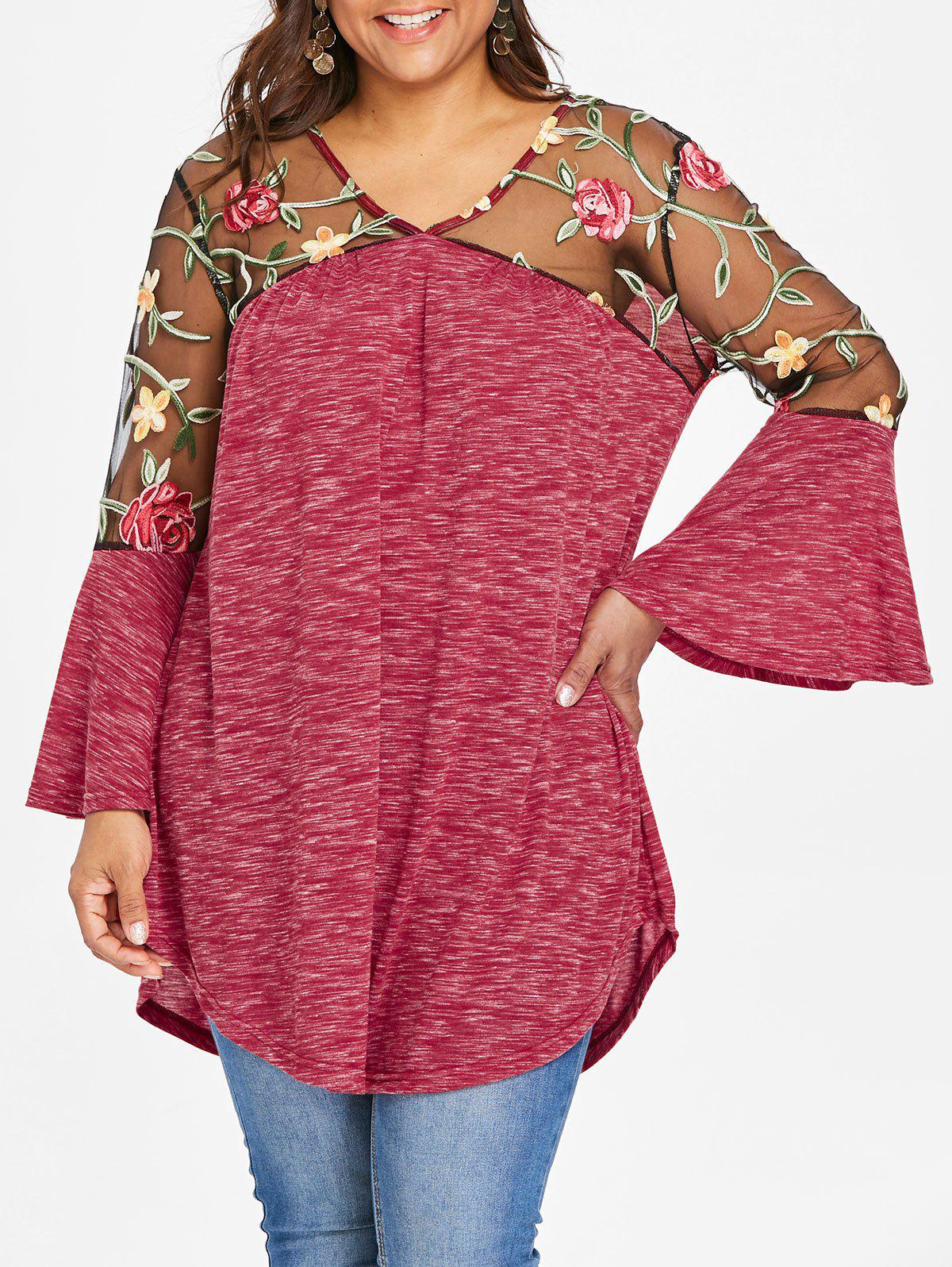 Hot Plus Size V Neck Embroidery T-shirt