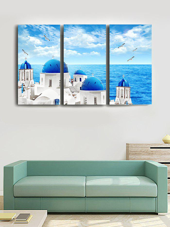 Outfit Seaside Houses Printed Unframed Wall Art Canvas Paintings