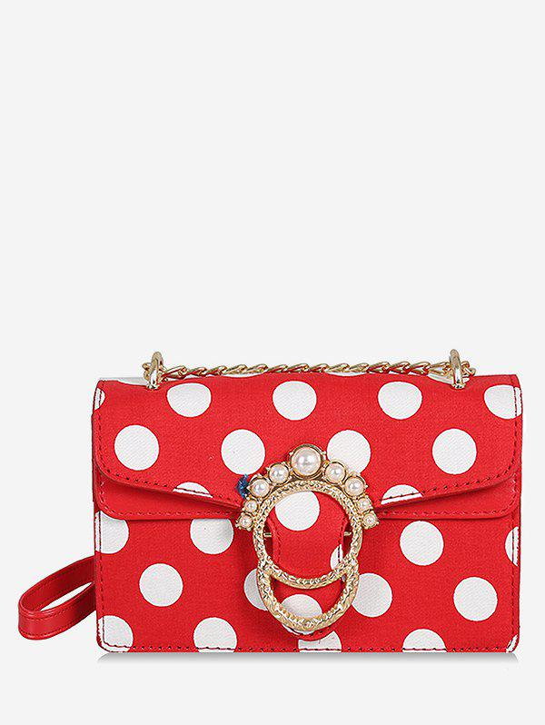 Cheap Polka Dot Flap Metal Buckle Faux Pearl Sling Bag