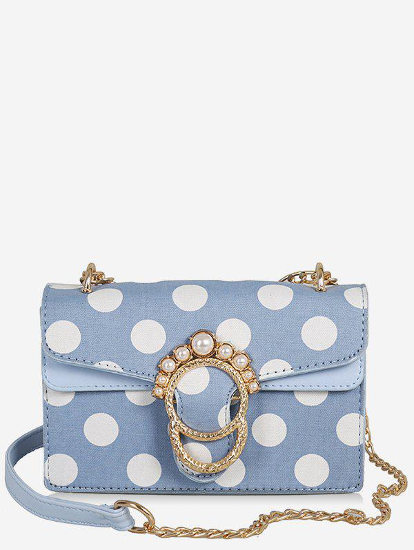 Outfit Polka Dot Flap Metal Buckle Faux Pearl Sling Bag