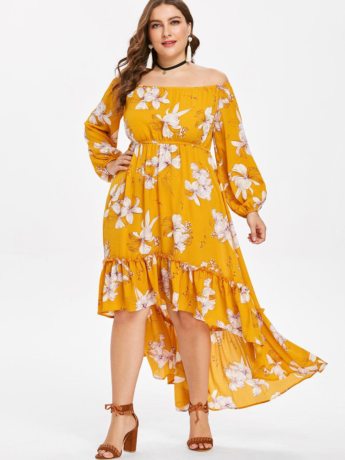 Cheap Plus Size High Low Flower Flounce Dress