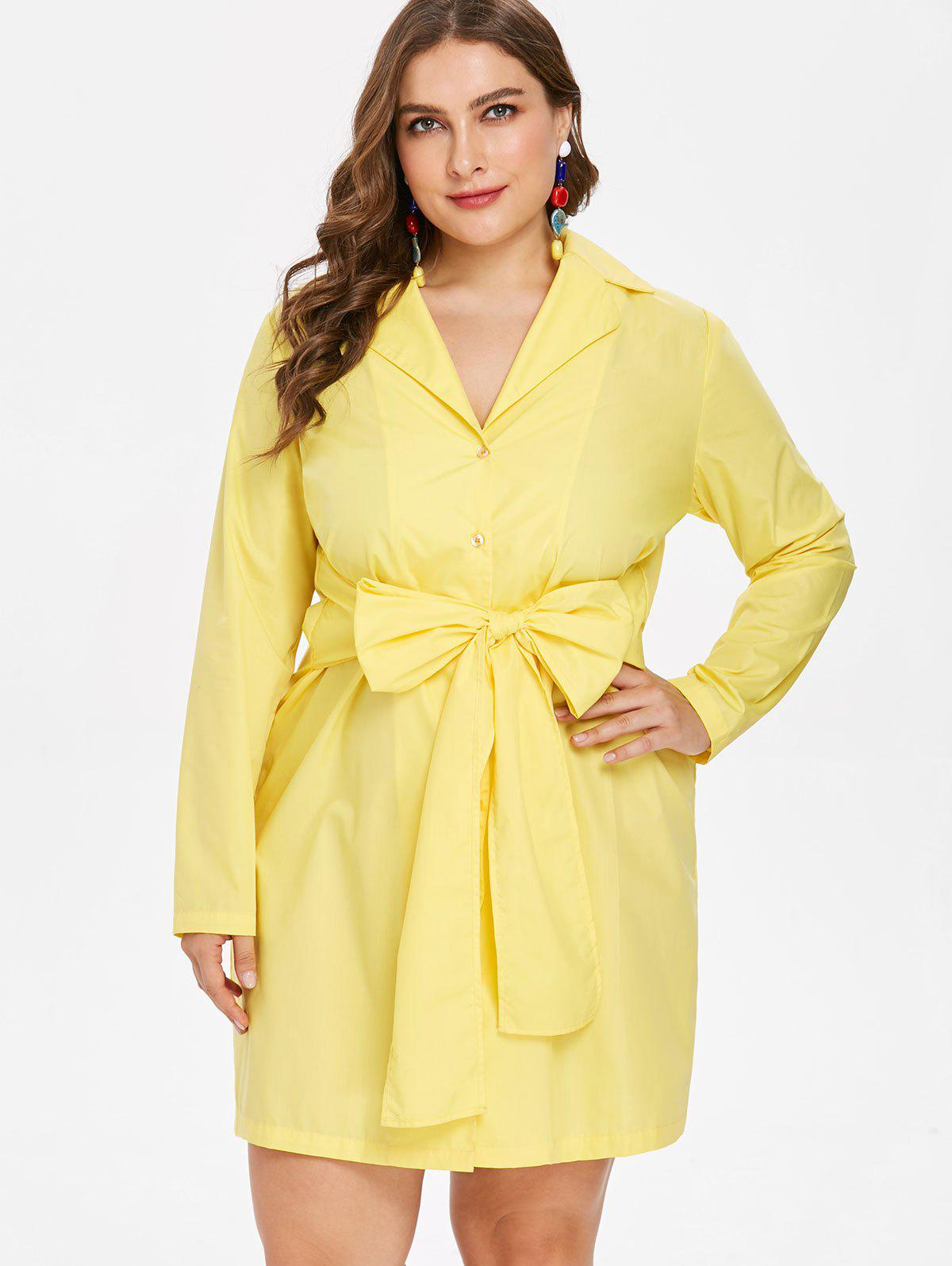 fff85c2a1fc 27% OFF  Plus Size Bow Tie Shirt Dress