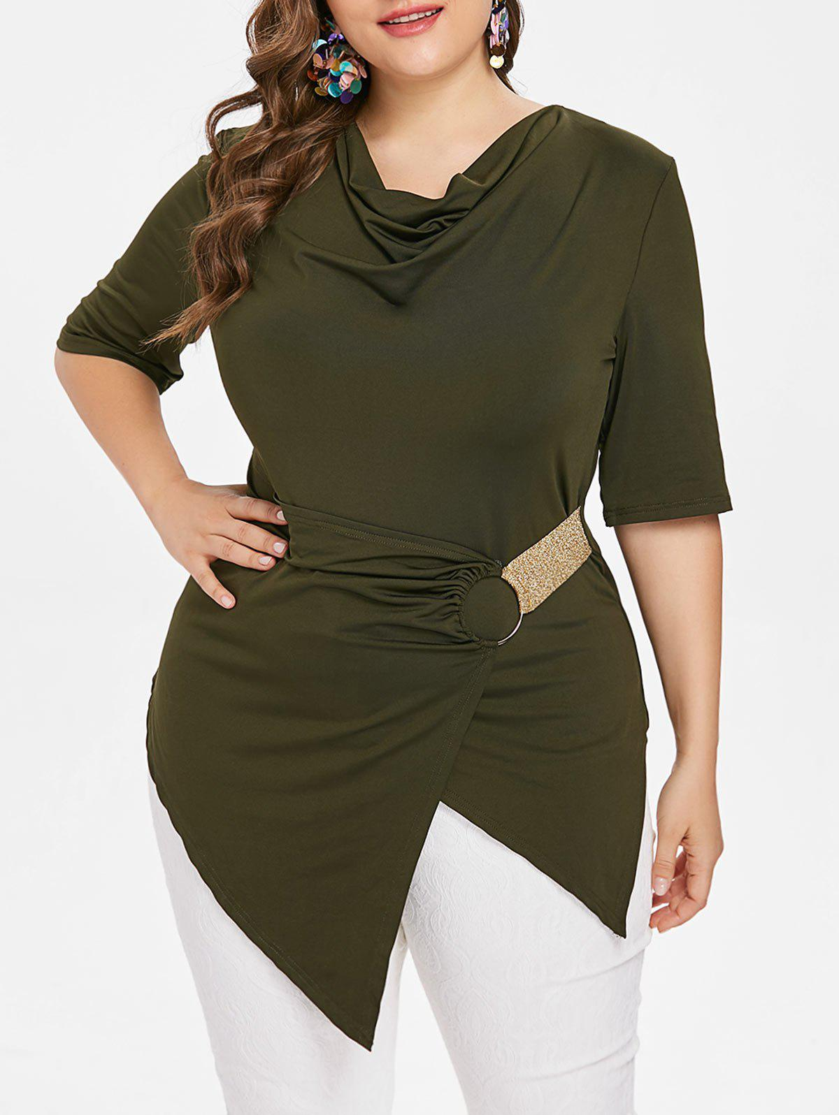 Affordable Cowl Neck Asymmetrical Plus Size T-shirt
