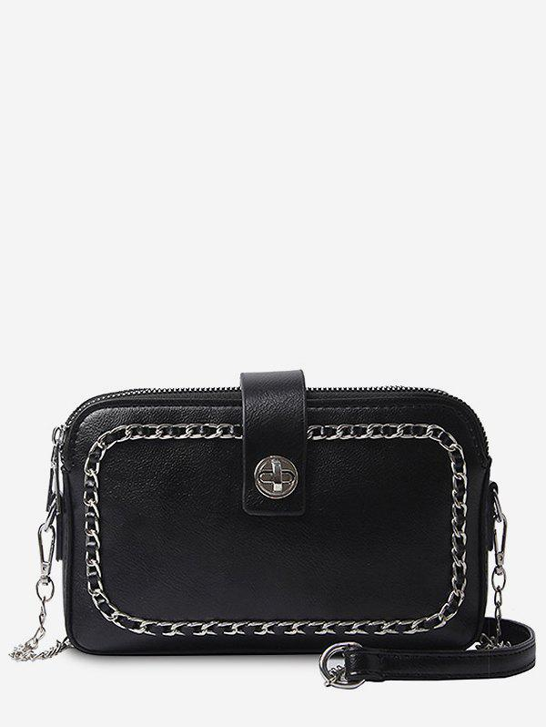 New Faux Leather Minimalist Chain Decoration Crossbody Bag