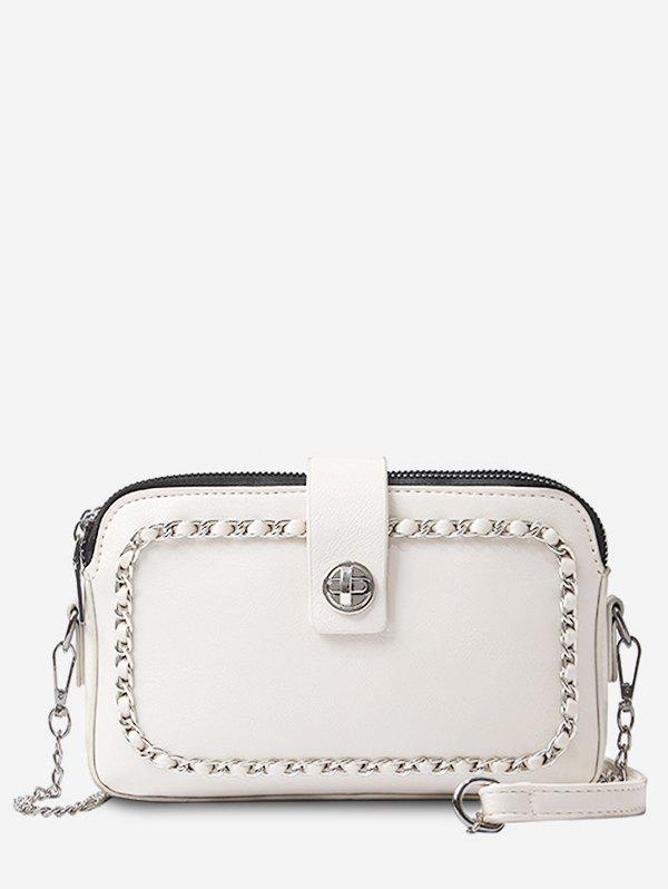 Sale Faux Leather Minimalist Chain Decoration Crossbody Bag