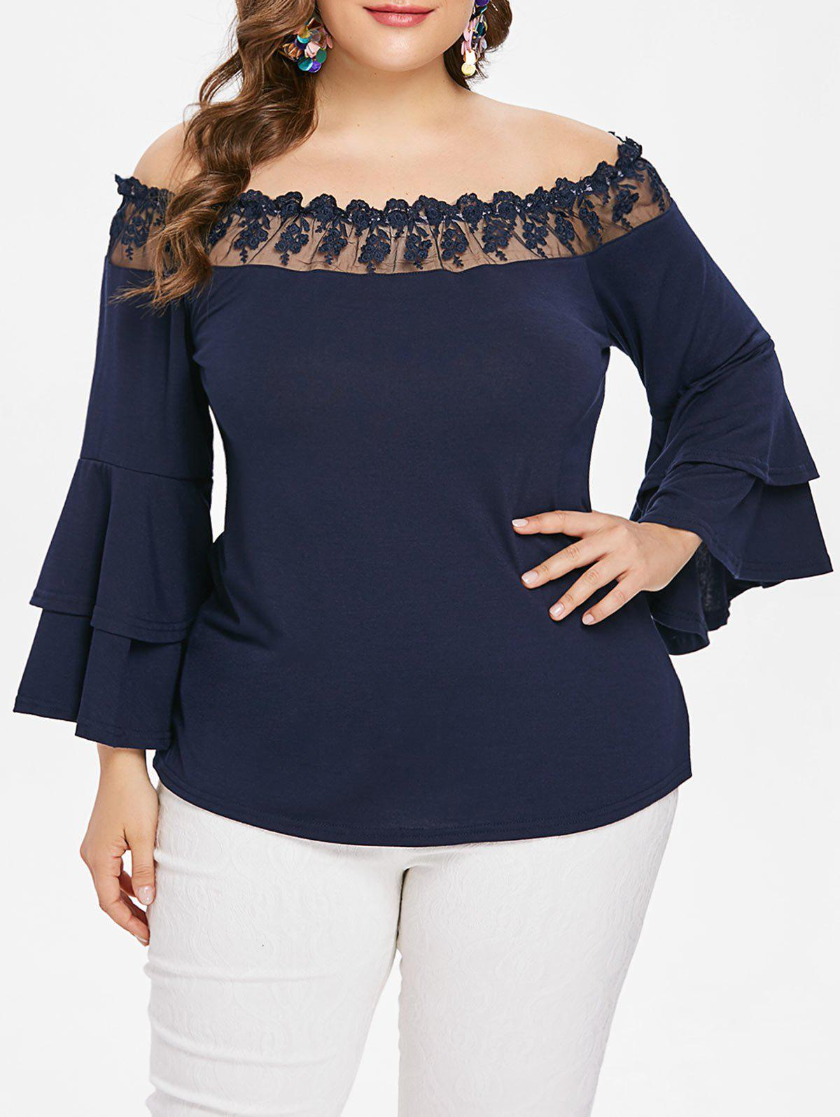 Affordable Plus Size Tiered Sleeve Off Shoulder Blouse