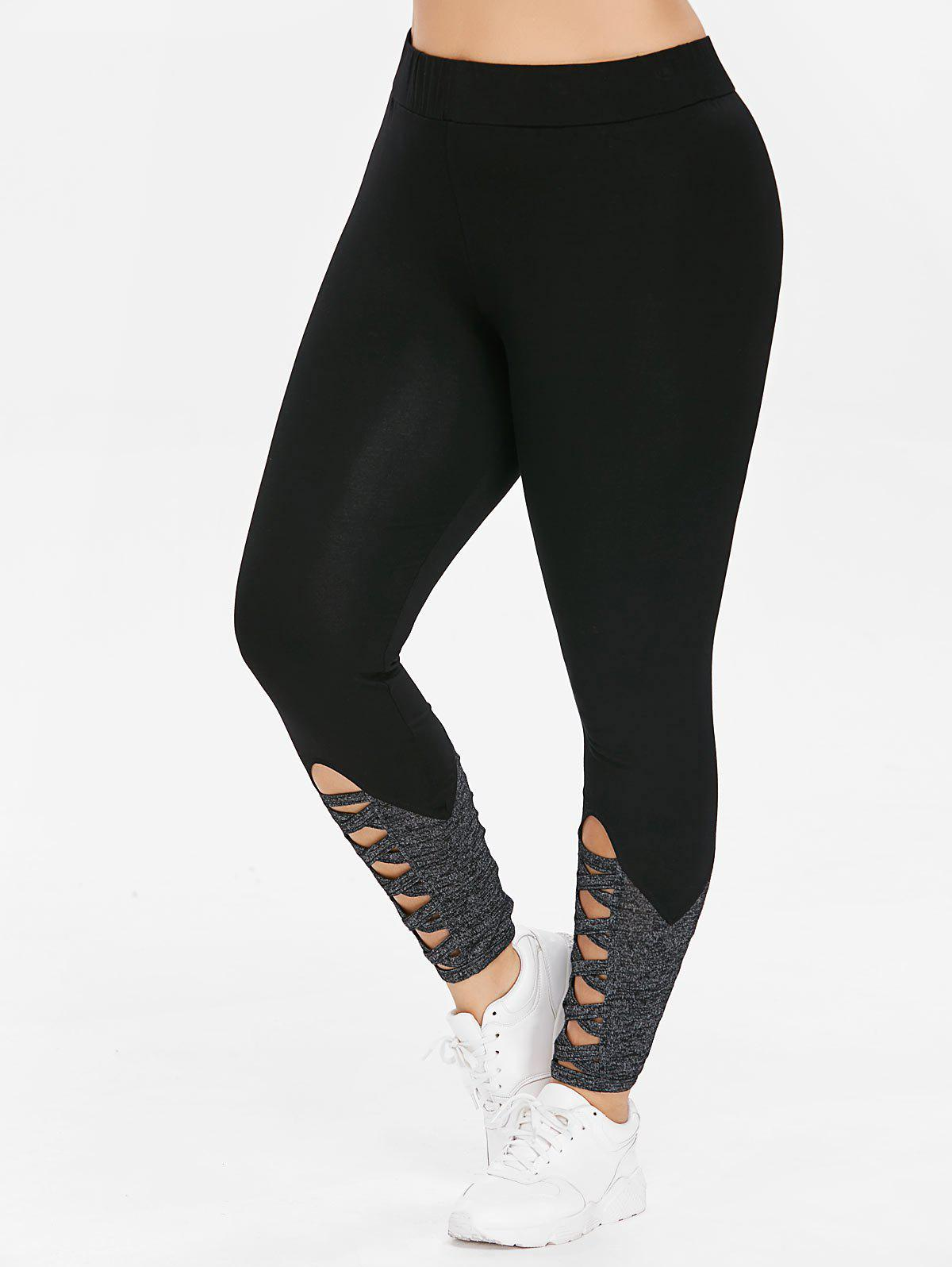 Cheap Plus Size Cutouts Criss Cross Leggings