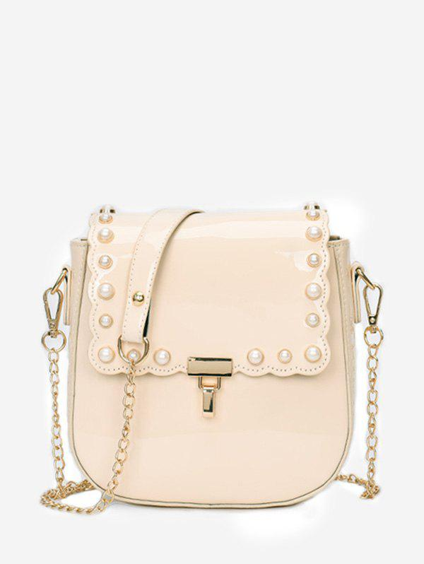 Fashion Chic Faux Pearls Flapped Dating Crossbody Bag