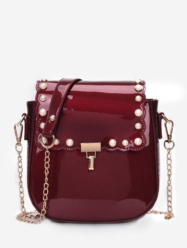 Online Chic Faux Pearls Flapped Dating Crossbody Bag