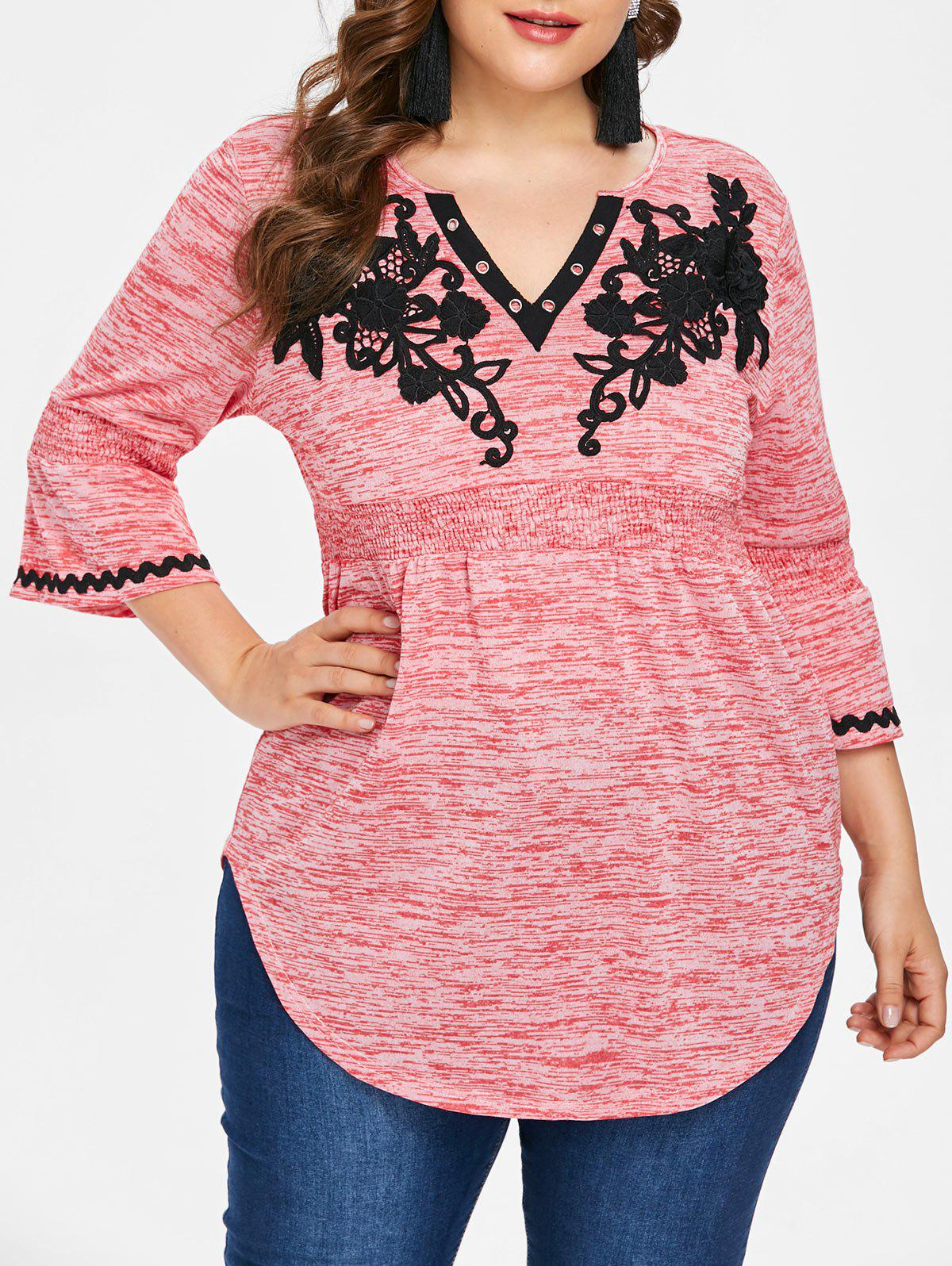 Outfit Plus Size Flare Sleeve V Neck T-shirt