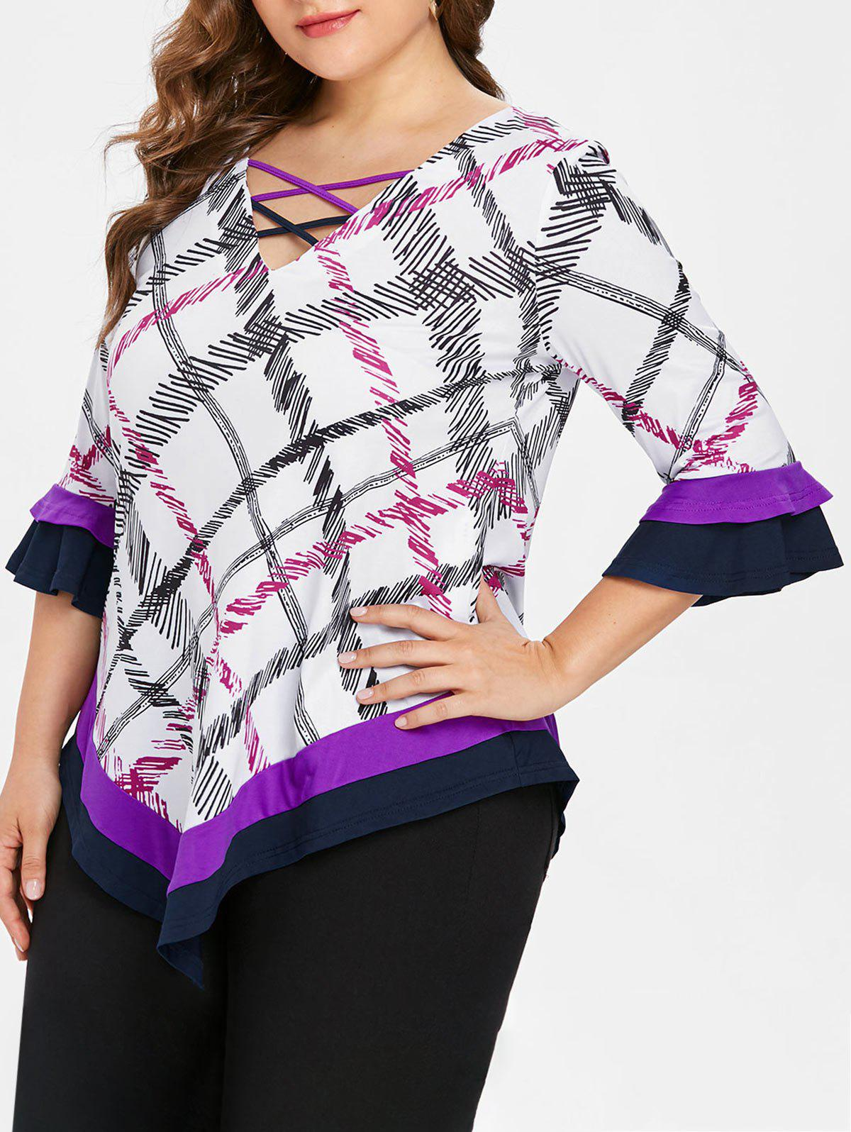 Affordable Plus Size V Neck Plaid T-shirt
