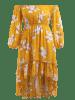 Plus Size High Low Flower Flounce Dress -