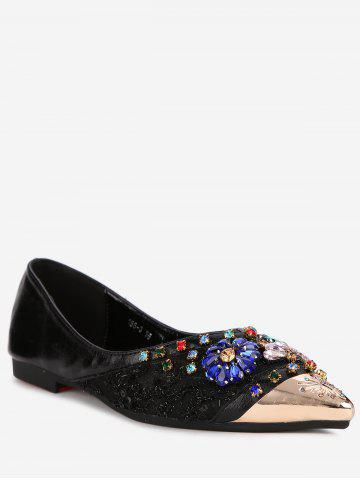 Shining Crystals Pointed Toe Metallic Shopping Flats - BLACK Outlet Browse f3fkVT