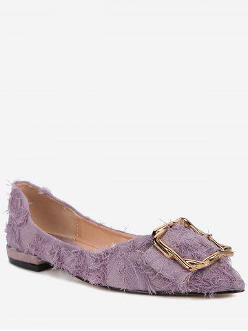 Leisure Buckled Pointed Toe Fuzzy Flats - VIOLA PURPLE Outlet Free Shipping Comfortable Cheap Online Free Shipping Wholesale Price GSwYrsfz