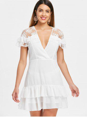Lace Insert Plunging Neckline Mini Dress
