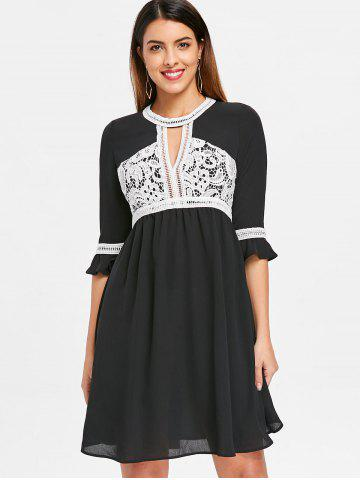 Lace Color Block Keyhole Dress