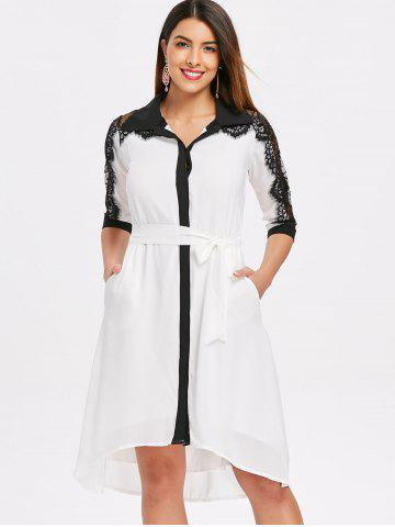 Lace Panel Color Trim Chiffon Shirtdress