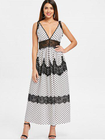 Plunging Neckline Dotted Maxi Dress