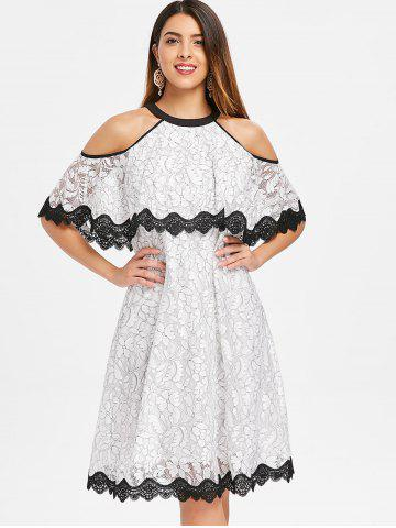 Cold Shoulder Lace Trim Floral Swing Dress
