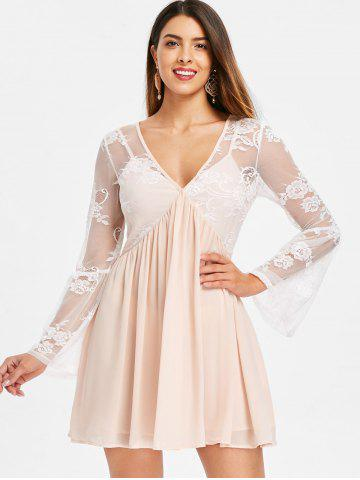 Full Sleeve Lace Insert Swing Dress