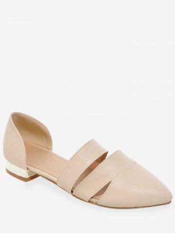 Plus Size Low Heel Daily Pointed Toe Pumps - BEIGE - 37