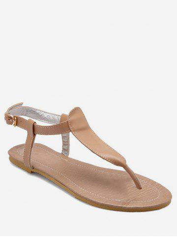 bcaca32445b327 Plus Size Casual Buckled Flat Heel Thong Sandals