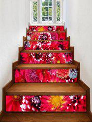 Flowers Print Decorative Stair Stickers -