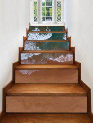 Beach Waves Print Decorative Stair Stickers -