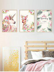 Unicorn Deer Floral Print Wall Stickers for Bedroom -