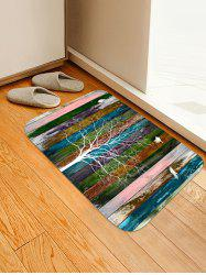 Striped Tree Birds Print Floor Mat -