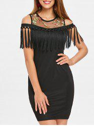 Fringe Cold Shoulder Bodycon Dress -