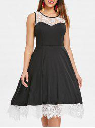 Lace Trim Sleeveless Vintage Dress -