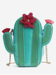 Cactus Pattern Scallop Color Block Chain Bag -
