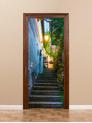 Outdoor Flower Vine Stair Road Lamp Print Door Stickers -
