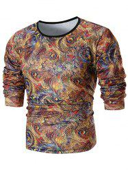 Allover Feather Print Round Neck T-shirt -